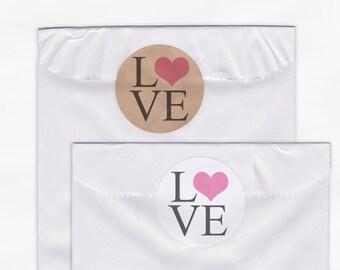 Love Heart Wedding Favor Stickers - Custom White Or Kraft Round Labels for Bag Seals, Envelopes, Mason Jars (2001)