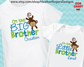 Playful Monkey BIG Brother Shirt & Playful Monkey Little Brother Shirt or Bodysuit -- 2 Personalized Sibling Shirt