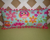 Owls, Birds, and Flowers Pillow in Hot Pink, Orange, Light Blue/ Owl Pillow/ Blue Pillow/ Floral Pillow/ Accent Pillow/ Girls Room Decor