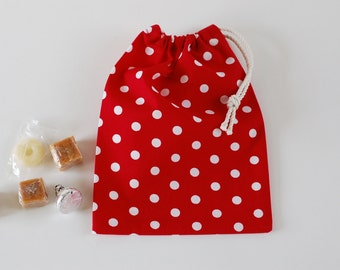 Fabric Treat Bags Set of 5 / Goody Bags / Party Favor Bags / Small Drawstring Bags / Red & White Polka Dots