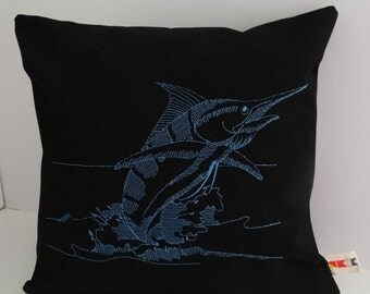 "TAILWALKING MARLIN 16"" x 16"" embroidered pillow cover Sunbrella black indoor outdoor fishing beach ocean Oba Canvas Co"