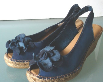 Vintage Wedge Heeled Espadrilles Size 38 EU Made in Spain