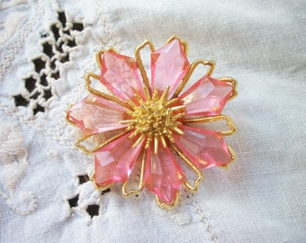 Dramatic PINK Flower Brooch ~ Shabby Cottage ~ Bold Chic ~  Gold Tone