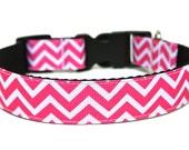 "Pink Chevron Dog Collar 3/4"" or 1"" Striped Dog Collar"