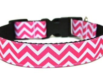 "Pink Chevron Dog Collar 3/4"" or 1"" Striped Dog Collar"