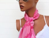 Hand Dyed Silk Scarf Pink
