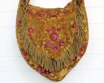 Boho Bag Purse Vintage Cut Velvet with Fringe