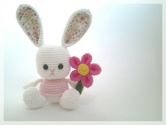 Amigurumi Cotton Yarn : Cotton yarn bunny crochet doll amigurumi ready to ship