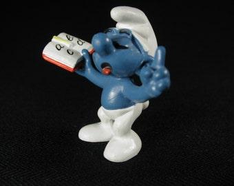 Vintage Teacher Smurf Figurine