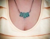 Jade and Copper Fringe Necklace -- Oxidized Egyptian Collar -- Rustic Tribal Jewelry