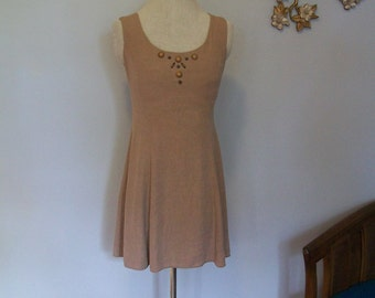 SALE 90's Nude Silk Fit and Flare Dress- Studded- Wooden Beads- Necklace- Skater dress (( Size Small to Medium))