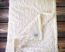 Cream blanket, vine minky, soft blanket, women's blanket, adult blanket, sophisticated blanket, warm blanket, ivory blanket, ivory minky