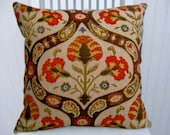 Orange  Chenille  Pillow Cover-- 18x18 or 20x20 or 22x22 Stroheim Decorative Throw Pillow-- Orange, Beige, Brown, Olive Green Accent Pillow