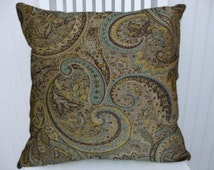 Blue, Brown Paisley Pillow Cover 18x18 or 20x20 or 22x22- Decorative Pillow Cover Brown Accent Pillow