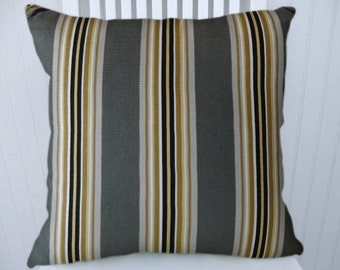 Grey Gold Striped Pillow Cover--Decorative Pillow Cover-18x18 --Grey, Gold, Black Accent Pillow