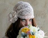 Bridal Cap, Vintage Blush bridal cap for weddings, brides, photoshoot, editorial, roaring 20s inspired
