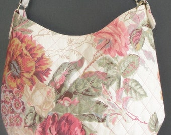 Handbag Quilted Rose Floral Print Handbag, Fully Lined and Double Stiched Ladies Purse