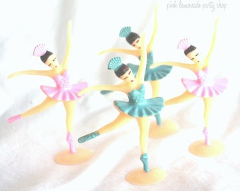 LiTTLe Ballerina cupcake toppers--12ct blue and pink--ballerina theme--ballet--girls-birthday party