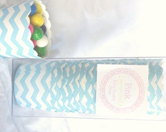 Small Light Turquoise Chevron-Boxed-Nut/Candy/Baking Cups-20ct--Parties--cupcakes-gumballs-snacks