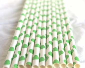 25 Green Dot Paper Straws 25ct- with Free Printable Flags