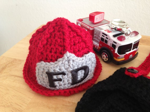 Crochet Pattern For Baby Fireman Hat : CROCHET PATTERN Baby Fireman Hat, Newborn, 0-3 Month, 3-6 ...