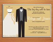 Wedding Hangers Engagement Party Customized Printable Invitations /  DIY