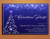 Blue Bokeh /  Christmas Party DIY Customized Printable Party Invitations