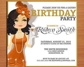 Great Gatsby / Flapper Birthday / Customized Printable Adult Birthday Party Invitation Cards DIY