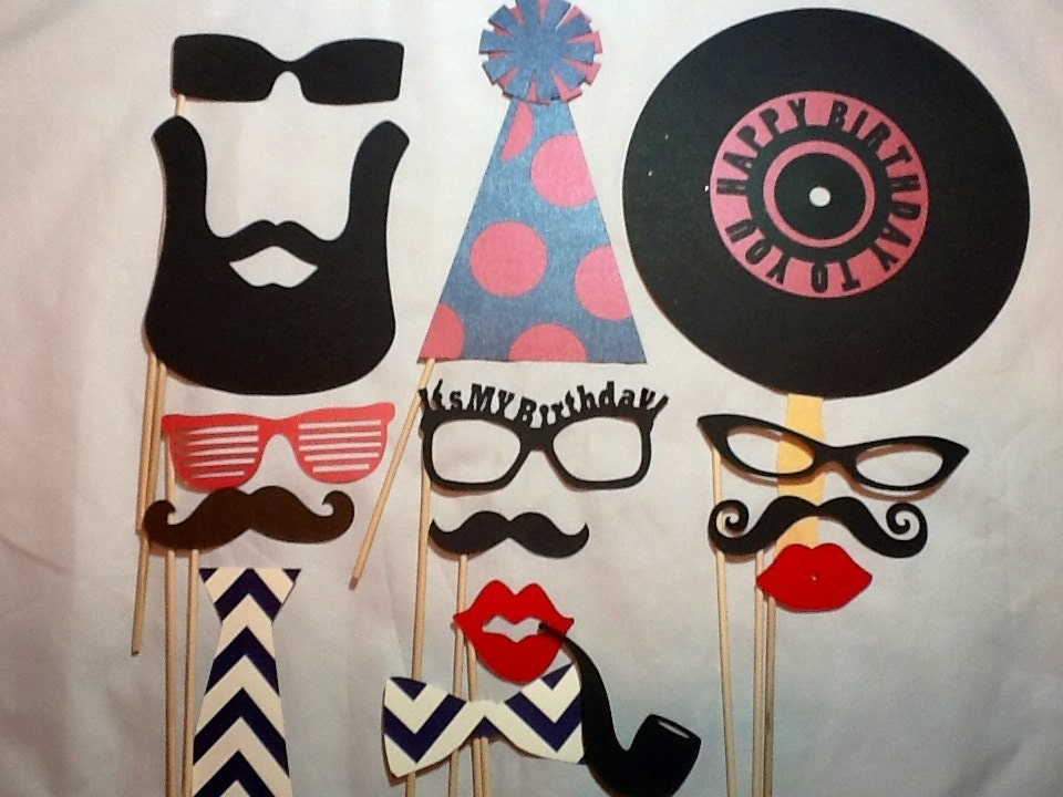 photo prop ideas for adults - Adult Birthday Party Props Set of 15 Hipster Boy Party