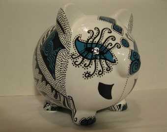 Personalized Piggy Bank, Handpainted, Black and Teal Two Toned Piggy Bank -  READY TO SHIP