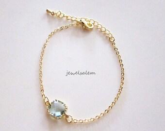 Gold Bracelet Mint Green Glass Faux Gemstone Gem Stone Erinite Bracelet Simple Everyday Dainty Modern Jewelry Pastel Seaglass Green C1