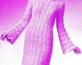 INSTANT DOWNLOAD Vintage knitting  Pattern , pdf knitting pattern,  -trumpet sleeved dress
