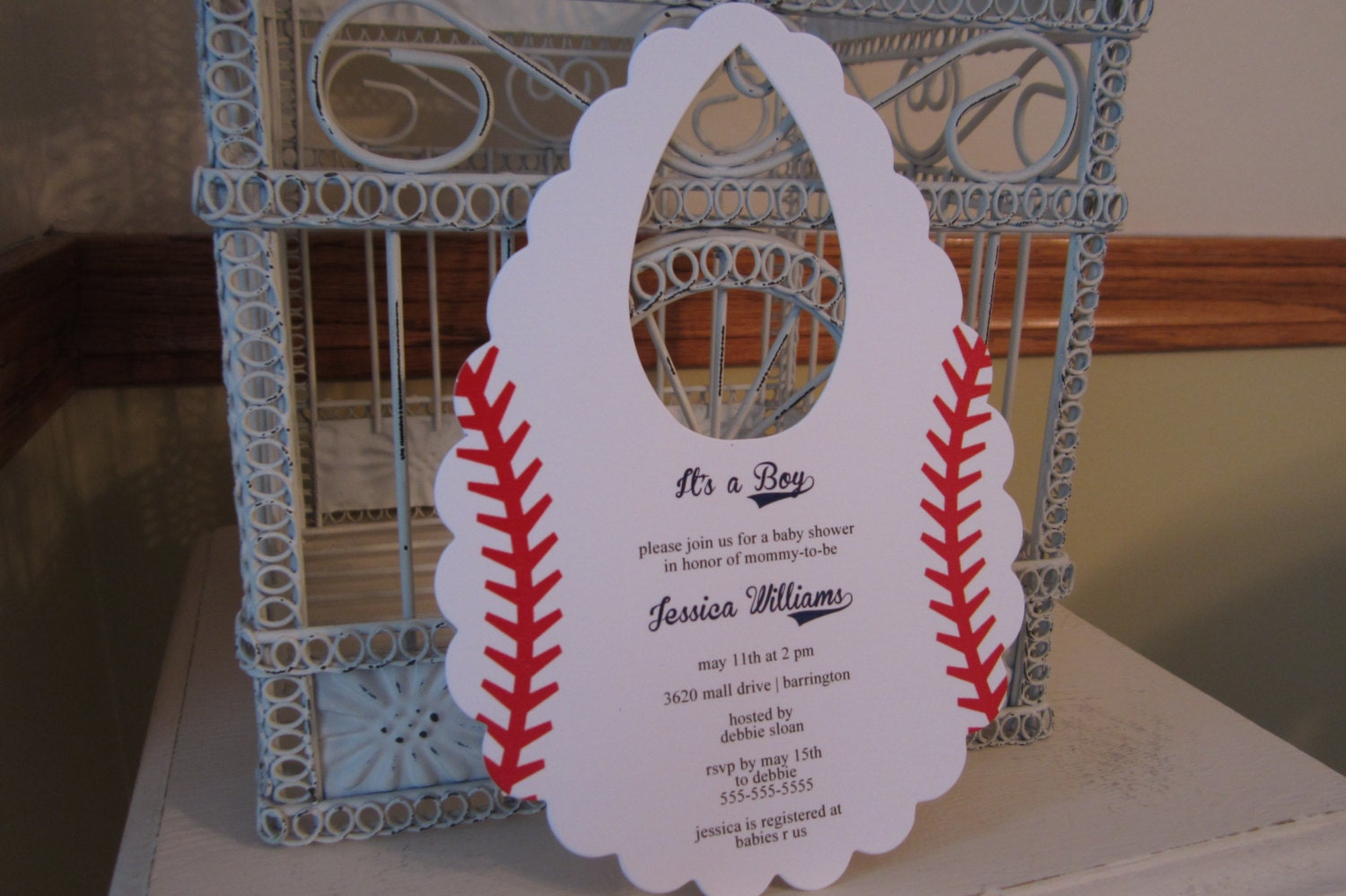 baseball themed baby shower invitation custom bib die cut