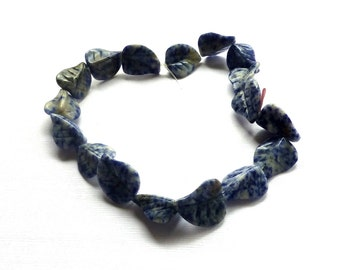 Sodalite Carved Leaf Beads. Blue White Sodalite Beads. Large Gemstone Beads. 15mm x 20mm. One Pair.