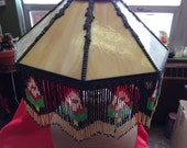 Reserved Listing for  Dianne Vintage Stained Glass Light Shade With Beaded Fringe