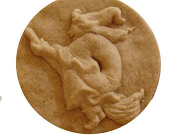 Halloween Witch Cookie Mold for Halloween Baking Desserts and Arts & Crafts Hand Built Stoneware