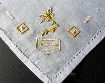 Handkerchief, Embroidered Hankies, Vintage Handkerchiefs, Retro Handkerchief, Linen, Pink, Green, Hankerchief, All Vintage Hankies