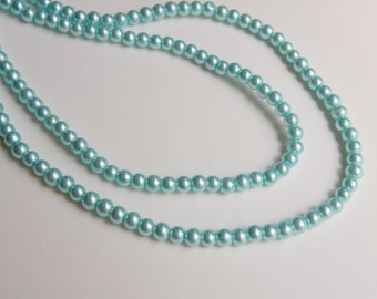 Turquoise blue glass pearl beads round 4mm full strand 7728GB