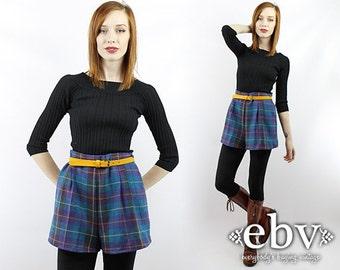 Vintage 80s High Waisted Plaid Wool Shorts M L High Waisted Shorts High Waist Shorts Plaid Shorts Wool Plaid Shorts