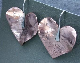 Copper Leaf Dangle Earrings, Drop Earrings, Leaf Earrings, Mixed Metal Earrings