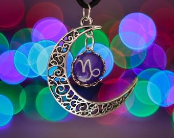 Capricorn Zodiac Moon Necklace