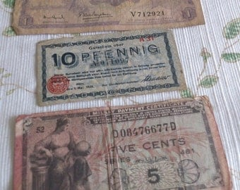 Paper Money from Long Ago, 1 Dalasi from Gambia, 10 Pfennig from Germany 1920, 5 Cents Military Payment