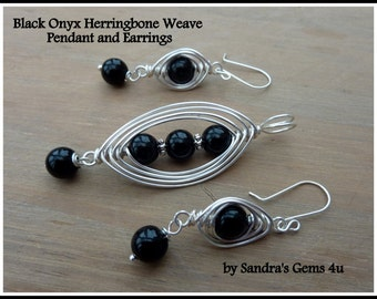 Black Onyx Pendant, Herringbone Weave, wire wrapped in Silver, matching Earrings available