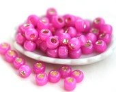 TOHO Seed beads, size 6/0, Silver-Lined Milky Hot Pink, N 2107, round, japanese glass - 10g - S308