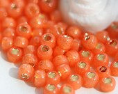 TOHO Seed beads, size 6/0,  Silver-Lined Milky Grapefruit, N 2112, orange, round, japanese glass - 10g - S309