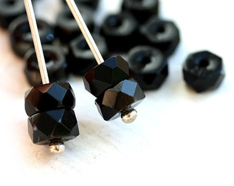 Black Rondelle beads, fire polished czech glass spacers - 6x3mm - 25Pc - 1964