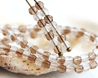 Neutral small beads mix, Czech glass beads Brown round spacers, smokey topaz, druk - 3mm - approx.250Pc - 0135