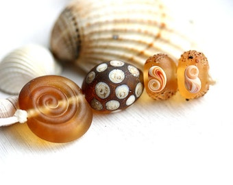 Seaglass feel Beads, Handmade Lampwork - Amber Yellow, Glass Shell, organics - Beach beads, Glass beads - SRA, by MayaHoney