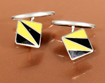 Vintage Art Deco Enamel Cuff Links Black Yellow Abstract Modernist 1930s French Birthday Gift