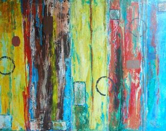 "Abstract painting 30""x40"" mixed media"